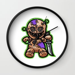 Puppet resembling animated puppeteer device rods strings synchronize Wall Clock