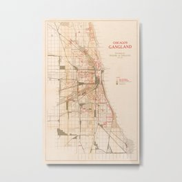 Map Of Chicago Gangs 1926 Metal Print