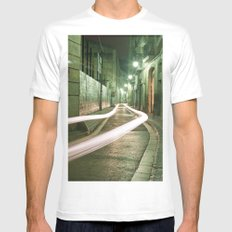 Barcelona, Spain night streets. Mens Fitted Tee White MEDIUM