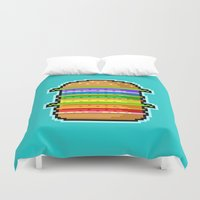 hamburger Duvet Covers featuring Pixel Hamburger by Sombras Blancas Art & Design