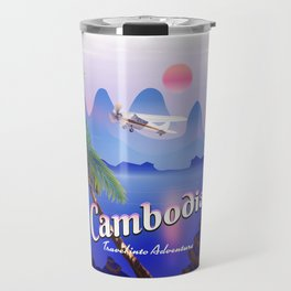 Cambodia vintage flight poster Travel Mug