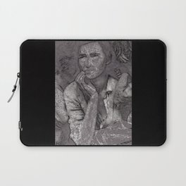 Black & White 1930's OLd Woman Pencil Drawing Photo Laptop Sleeve