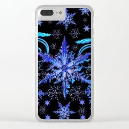 DECORATIVE BLACK & BLUE WINTER SNOWFLAKE FANTASY ART Clear iPhone Case