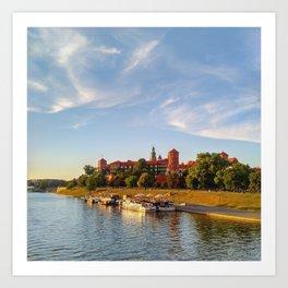 Magical Wawel Castle in Krakow - view from the bridge Art Print