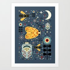 Midnight Bugs Art Print