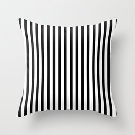 Black & White Small Vertical Stripes - Mix & Match with Simplicity of Life Throw Pillow