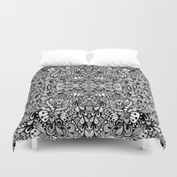 zentangle Duvet Covers featuring Zentangle  by Zenspire Designs