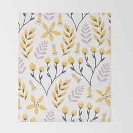 Yellow Flowers Throw Blanket