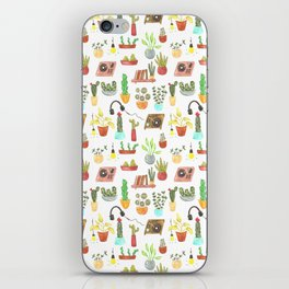 watercolor vinyl records and cacti iPhone Skin