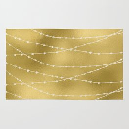 Merry christmas- white winter lights on gold pattern Rug