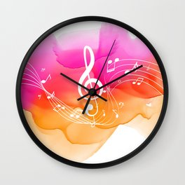 Watercolor, Musical Notes, watercolor t-shirt, watercolor sticker Wall Clock