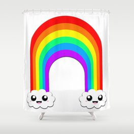 Happy Rainbow (Single On White) Shower Curtain