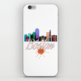 Colorful Boston Skyline Art Tee iPhone Skin