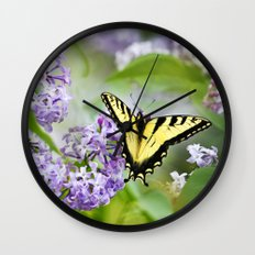 Lilac Butterfly Wall Clock