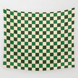 Green Crossings - Gingham Checker Print Wall Tapestry