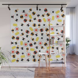 All About Sushi Pattern Art White Wall Mural
