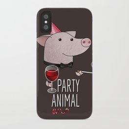 Party animal. Cute party boy pig iPhone Case
