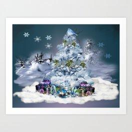 Snowy Blue Christmas Scene Art Print