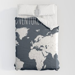 Adventure Awaits World Map in Navy Blue Comforters