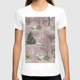 Owl Fox Snow Pattern Pink T-shirt