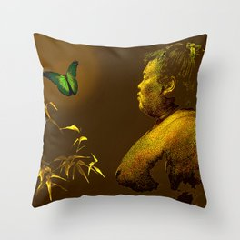 The short-lived life of the butterfly and the sumo wrestler Throw Pillow