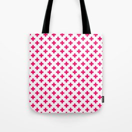 Hot Neon Pink Crosses on White Tote Bag