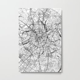 Moscow White Map Metal Print