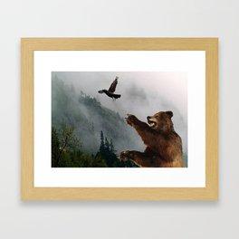 The Trickster - Raven & Grizzly Bear Art Print Framed Art Print