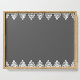 White Vintage Lace Gray Background Serving Tray