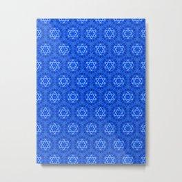 Jewish Israel Star of David Kaleidoscope Navy Blue White Pattern Pretty abstract beautiful Decor Metal Print