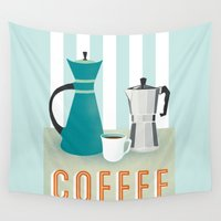 coffee Wall Tapestries featuring Coffee by Jenny Tiffany