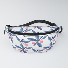 Modern hand painted blue pink watercolor leaves fruit pattern Fanny Pack