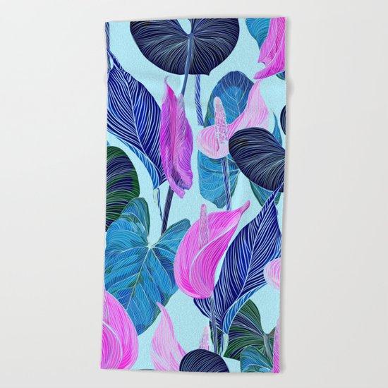 Lush Lily - cool brights Beach Towel