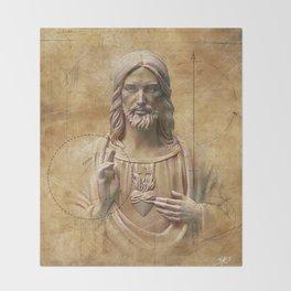 Vintage Drawing of Jesus Christ - Religious Throw Blanket