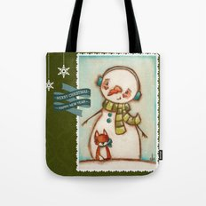 Fox and Friend - Snowman and Fox in the snow Tote Bag
