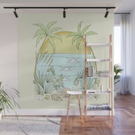 tropical vibes fl sunshine seashells waves // retro surf art by surfy birdy Wall Mural