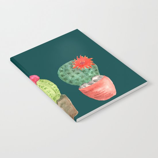 Three Cacti watercolor green Notebook