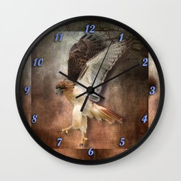 Red Tail Hawk in Vintage Light Wall Clock