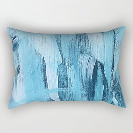 Pastel Blue Abstract Painting With Broad Brush Strokes Rectangular Pillow