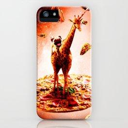 Outer Space Pug Riding Giraffe Unicorn - Pizza iPhone Case