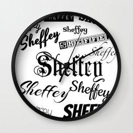 Sheffey Fonts in Black Wall Clock