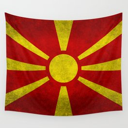 """Flag of Macedonia in """"Super Grunge"""" Wall Tapestry"""