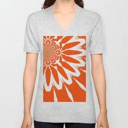 The Modern Flower Orange Unisex V-Neck