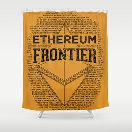 Ethereum Frontier (black on orange) Shower Curtain