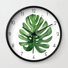 Tropical Leaf, Monstera leaf. Wall Clock