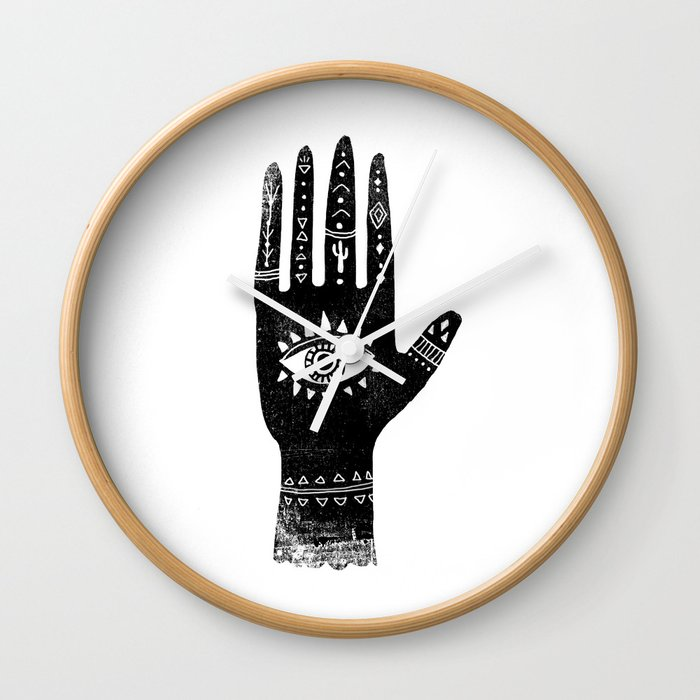 Hand With Eye Linocut Black And White Minimal Boho Third Eye Hamsa
