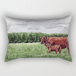 Mom and Baby Cow Rectangular Pillow