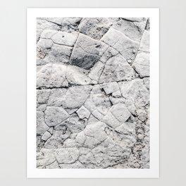 Gris Broken Rock Art Print