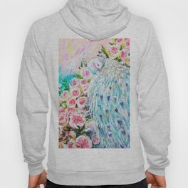 White peacock and roses Hoody