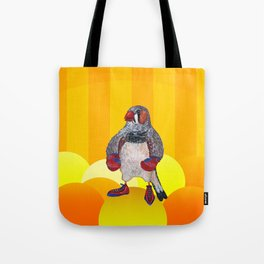 The Energetic Zebra Finch with Boxing Gloves Tote Bag